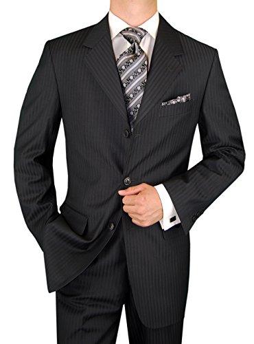 2 Piece 3 Button Jacket Flat Front Pants Stripe Gray Suit (54 Regular US / 64 Regular EU) (Grey Stripe 3 Button Suit)