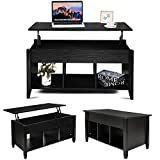 MTFY Lift Top Coffee Table, Modern Wood Home Living Room Furniture Coffee Table Desk with Hidden Compartment Storage Shelf (Black)