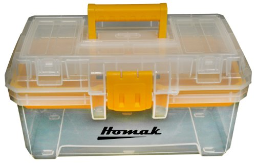 Homak 15-1/2-Inch Plastic Transparent Toolbox with Tray, TP00115088 (Tray Plastic Tool)