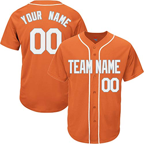 Orange Custom Baseball Jersey for Men Replica Embroidered Team Player Name & Numbers,White-Light Blue Size L