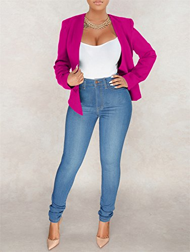 GOBLES Women's Casual Long Sleeve Solid Work Suit Club Party Blazer Jacket Rose by GOBLES (Image #4)