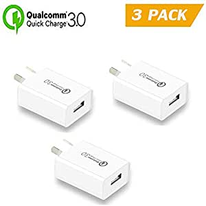 Quick Charge 3.0 with AUS Plug, LNL 18W Qualcomm USB Wall Charger Adapter with Smart IC, FCC RoHS CE Listed for iPhoneXs/Xs Max/X /8 Plus/8/7Plus/7/6Plus/6/5S,iPad,iPod,Samsung ,HTC,Xiaomi,Huawei,LG and More (Quick Charge 3.0 / 3-Pack)