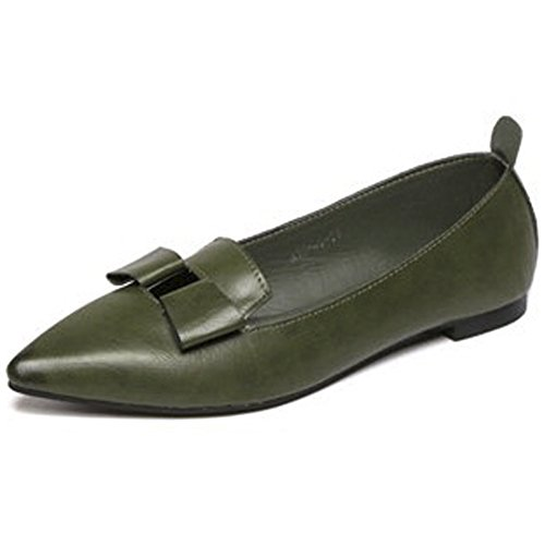 Qzunique Womens Classic Punta A Punta Balletto In Pelle Pu Slip On Flats Scarpe Verde
