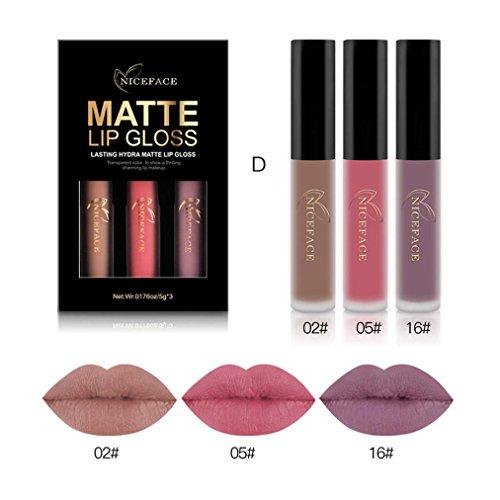 Matoen 3PCS/Set New Fashion Waterproof Matte Liquid Lipstick Cosmetic Sexy Lip Gloss Kit (D) New Fashion Makeup Kit