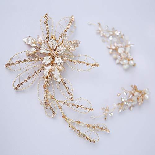 AlonSwallow Bridal Tiara Freshwater Beads Handmade Hairpin Earrings Original Design Wedding Hair Accessories Hairpin Wedding Jewelry Wedding Dress Headdress -