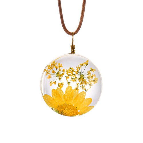 FM FM42 Yellow Queen Anne's Lace Daisy Pressed Flowers Transparent Round Pendant Necklace FN4173 ()