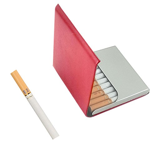 (Leather Cigarette Case/Box/Holder Ultrathin Lightweight Exquisite and Portable Carrying (Red))