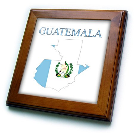 3D Rose Image of Exotic Guatemala Map in Flag Colors with Seal Framed Tile, 8