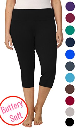 Lush Moda Extra Soft Leggings - Variety of Colors -Plus Size Yoga Waist - Black