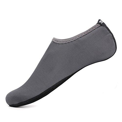 SENFI Unisex Wasser Haut Schuhe Barfuß Aqua Socken für Pool-Wasser-Aerobic-Übung 01grau