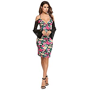 ANGVNS Women Sexy Deep V Neck Bodycon Dress Floral Lace Patchwork Strap Halter Backless Club Party Pencil Dress