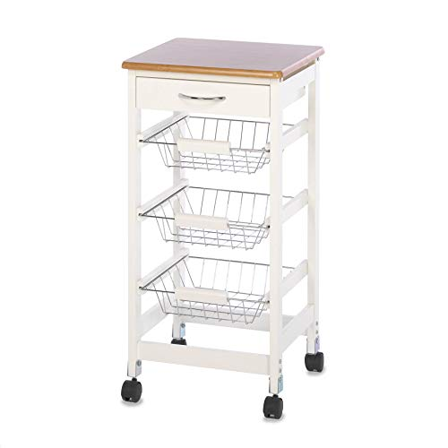 - Wood-Top Kitchen Cart with Baskets