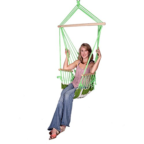 Blue Sky Outdoor Hanging Chair with Armrests and Free Hammock Straps