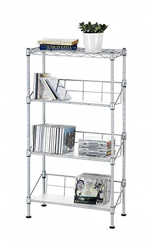 Silver Finish Metal Dvd Tower (Silver 4-Tier Media CD Rack Stand Racks Organizer)