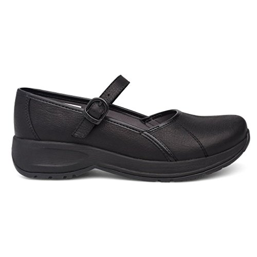 Leather Flat Mary Jane Steffi Black Tumbled Women's Dansko H0wC77