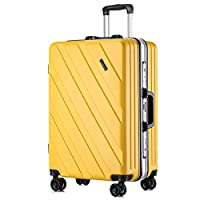 HUIQI Luggage Ultra-Lightweight and Durable Luggage Suitcase Trolley Case Keeps Checked Baggage Boxed Chassis Caster Built-in 3-Digit TSA Lock (20 Inches) Rose Gold suitcases with Wheels