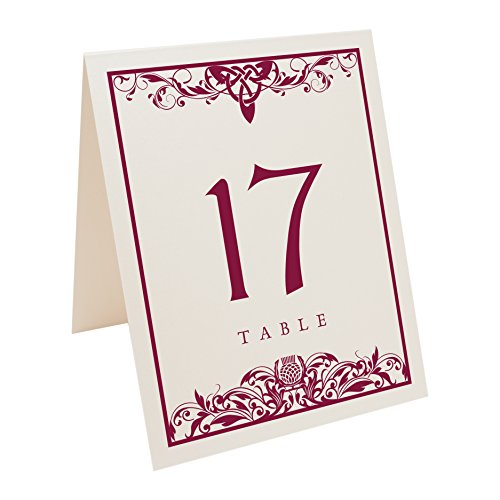 Thistle Champagne (Scottish Thistle Table Numbers, Champagne, Burgundy, Numbered 1 through 30)