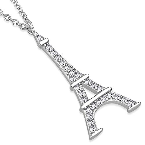 925 Sterling Silver Classic Womens Paris France Eiffel Tower CZ Pendant Necklace