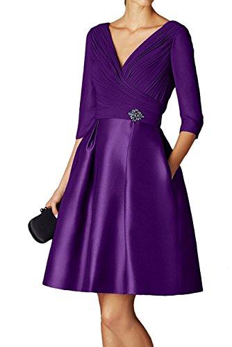 Royal Brautmutterkleider Violett Knielang La Braut Linie Promkleider Abiballkleider Langarm A Blau Marie Rock Damen qrOYztxO