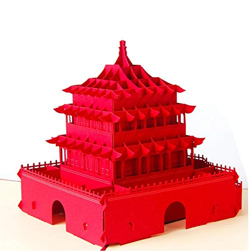 Fusolo 3D Pop Up Cards, Chinese XiAn Bello Tower Cards, Greeting Cards, Birthday Cards (Chinese Xian Bello Tower)