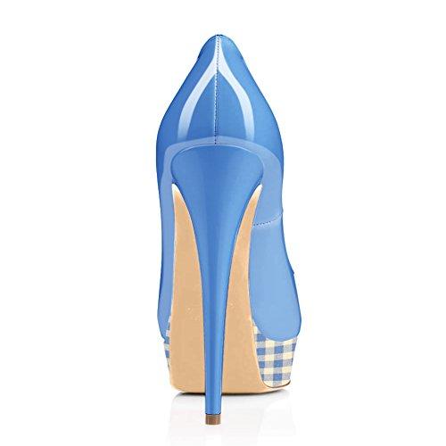 On Blue Pumps a Toe Wedding onlymaker Platform Peep High Heels Women's Stiletto Dress Slip Sexy Shoes Party wnxqZTw0
