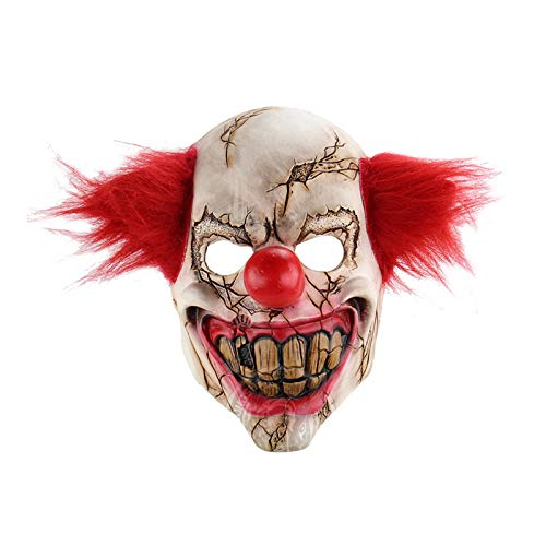 Party Masks - Halloween Mask Scary Clown Latex Full Face Big Mouth Red Hair Nose Cosplay Horror Masquerade Ghost - Black Led Dinosaur Character Superhero Star For Wars Photo Cat -