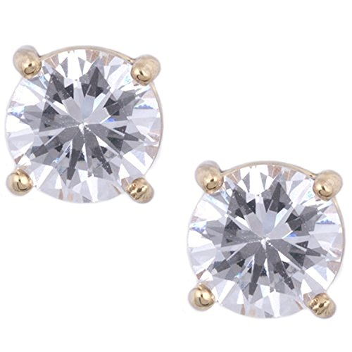 Anne Klein Goldtone Clear Crystal Stud Earrings Travel Jewelry Case Gift Set (Anne Klein Gold Tone Earrings)