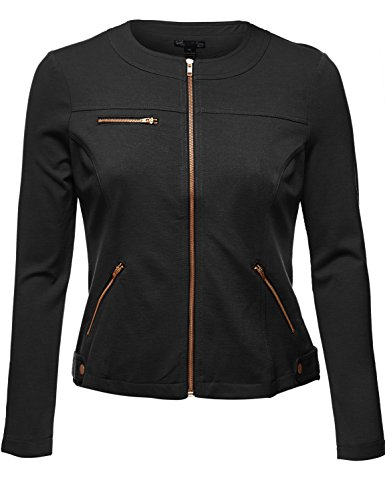 Luna Flower Plus Size Comfy Womens Zipper Jackets. 001-Black US 1XL