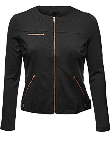 Luna Flower Plus Size Comfy Womens Zipper Jackets. 001-Black US 1XL