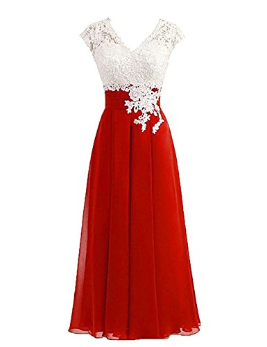 Women's Ivory Lace Top Chiffon Button V-Neck Bridesmaid Dresses with Cap Sleeves Mother of The Bride Dresses (US24W, Red)