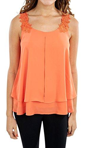 Joseph Ribkoff Papaya Sleeveless Top with Lace Trim Neckline Style 172295 - Size 10