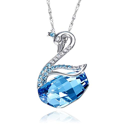 (Women's Swan Long Necklace- Sterling Silver Animal Designed Series Pendant Necklace Fine Jewelry-Crystals from Swarovski Hypoallergenic - Chain 16