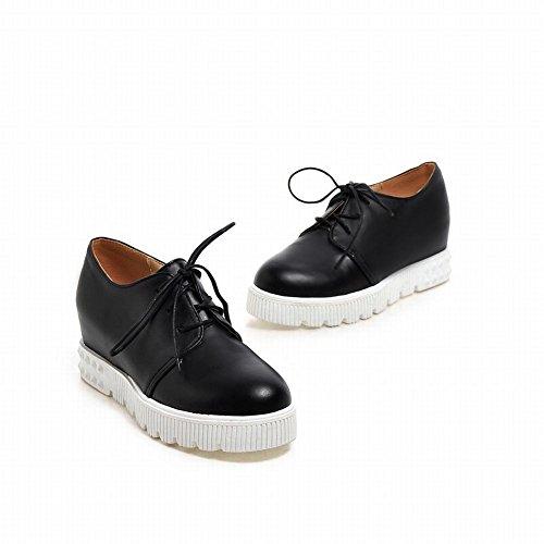 Latasa Dames Lace-up Platform Binnenkant Wedge Oxfords Schoenen Zwart