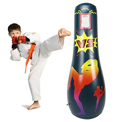 """Rhino Valley Inflatable Punching Bag, 65"""" Freestanding Kid's Boxing Bag Standing Boxing Fitness Punching Bag for Kids…"""