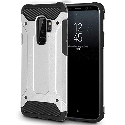 Galaxy S9 Case, TQHH ,Heavy Duty Protection Case Shock Reduction Hybrid Soft Inner TPU Hard PC Back Cover, Galaxy S9 Full-Body Rugged Holster Case (White)