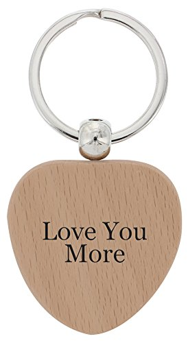 ThisWear Wooden Love You More Couples Boyfriend Girlfriend Wood Heart Keychain Key Tag 5th Anniversary (Tag Keychain Heart)