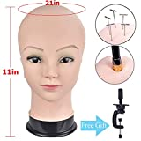 Bald Female Professional Cosmetology Bald Mannequin Head for Making up,Making Wigs, Wigs,Glasses, with Table Clamp