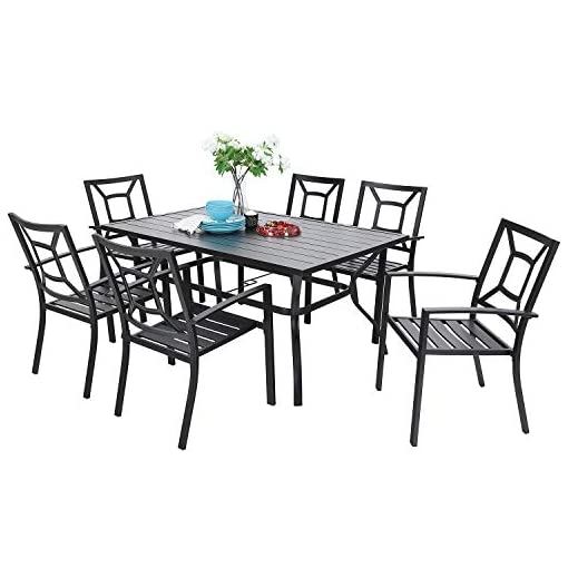 Garden and Outdoor 7 Piece Metal Outdoor Patio Dining Bistro Sets with Umbrella Hole – 60.2″ x 37.8″ Rectangle Patio Table and 6 Backyard Garden Outdoor Chairs, Black patio dining sets