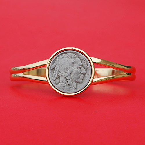US 1923 Indian Head Buffalo Nickel Gold Plated Cuff Bangle Bracelet NEW