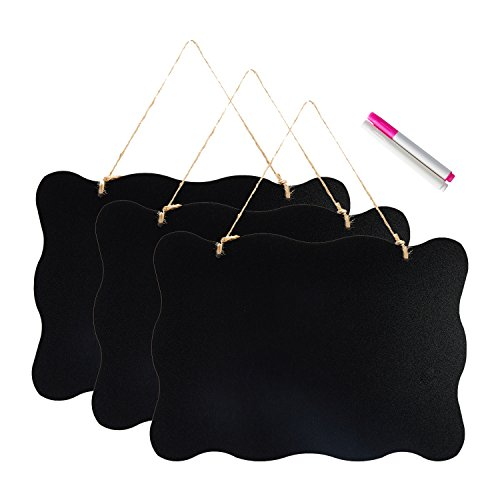 10x14 inch Double Sided Hanging Chalkboard Signs, Vintage Erasable Message Board with Hanging String for Wedding Kitchen Party, 3 pack