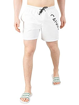 Calvin Klein Men's Medium Drawstring Swim Shorts, White