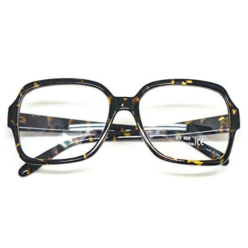 Large Nerdy Horn Rimmed Eyeglasses Vintage Fashion Inspired Geek Clear Lens (LEOPARD E58321, - Glasses Horn Mens Rimmed Vintage