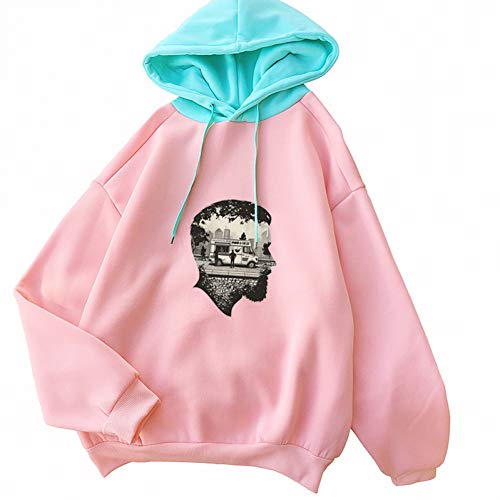 Autunno Pink Casual Divertente Kawaii Zjswcp Colore Caldo Pile Mujer Harajuku Con Cappuccio Moda Incantesimo Donne Nuova Carattere Sudadera Felpa Felpe Stampa R5qB54n