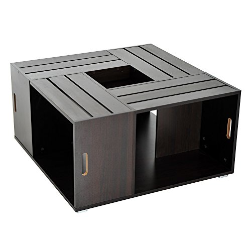HomCom Wooden Coffee Table Storage Compartment - Dark (Square Coffee Table With Storage)