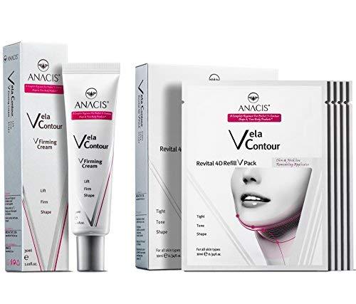 Double Chin Reducer Neck Line Face Lift Slim Vela Contour (Cream + Masks)