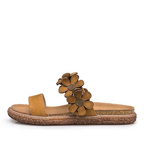 Desgaste de moda pantuflas planas/Flor de cuero genuino palabra romana A