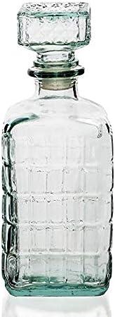 Botella Cristal Vidrio para Licores Licorera Decantador Whisky Vintage 1L Coñac Brandy Tallado - Jarra Licor Diseño Clasica Transparente Resistente Vino Vozka - Chupitos Ideal Botellas Regalo.