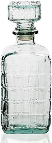 Botella Cristal Vidrio para Licores Licorera Decantador Whisky Vintage 1L Coñac Brandy Tallado - Jarra Licor Diseño Clasica Transparente Vino Vozka - Chupitos Ideal Botellas Regalo Decoracion.