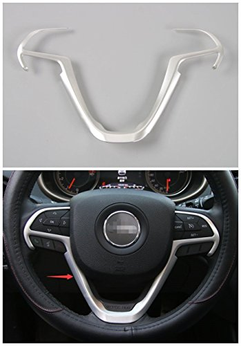 Pulidi Car Steering Wheel Trim Cover Decorative Frame For Jeep Cherokee 2014 2015 2016 ABS Silver 1pc ()
