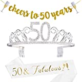 50th Birthday Decorations Party Supplies - 50th Birthday Gifts for Women,50 Birthday sash | Banner | Crown | Cake Topper. (50)